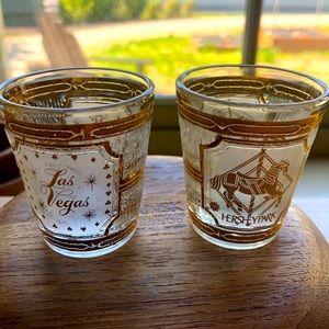 Vintage mid century CULVER souvenir shot glasses.